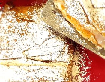 peaches and almond cream braisded strudel