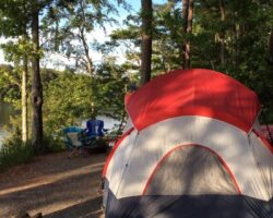 Camping by lake at Hamilton Branch Park