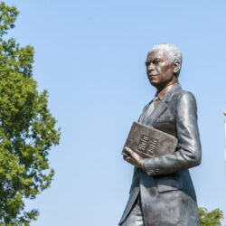A statue of Dr. Mays in the center of the Dr. Benjamin Mays Historic Site in Greenwood, South Carolina on Friday, September 13, 2019. Copyright 2019 Jason Barnette